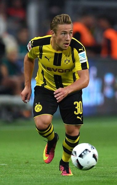 Dortmund's defender Felix Passlack vies for the ball during the German Super Cup…