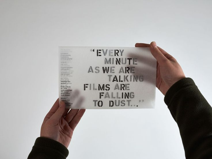 THEARTISTANDHISMODEL » Anthology Film Archive Every Minute USING TRACING PAPER TO EDIT SOMETHING Invitation