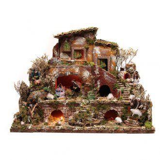 Pueblo iluminado con pastores 12 cm - 5 movimientos 60 x 80 | venta online en HOLYART