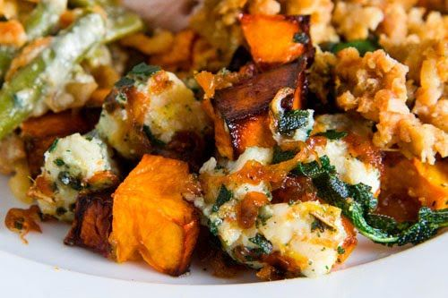 Roasted Butternut Squash with Caramelized Onions, Gorgonzola and Fried Sage by Closet Cooking.