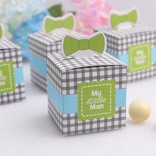 20 unids/lote Mi Hombrecito Azul/Verde Tie Caja De Dulces para la Ducha de Bebé Recién Nacido/Favores de La Boda y Regalos Accesorios Decorativos del partido(China (Mainland))