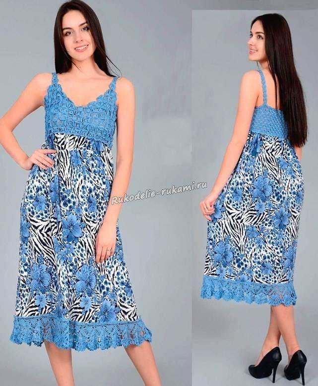 azul gancho vestido de verano de las mujeres