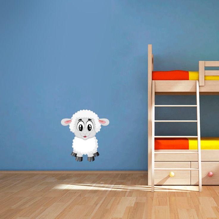Muursticker Lammetje   Vrolijk die ene saaie muur op met een muursticker! Gemaakt van vinyl en gemakkelijk aan te brengen. Bekijk snel onze collectie! #muur #sticker #muursticker #slaapkamer #interieur #woonkamer #kamer #vinyl #eenvoudig #voordelig #goedkoop #makkelijk #diy #lam #lammetje #schaap #baby #cartoon #schattig #kinderkamer