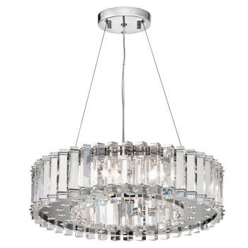 Crystal pendant light 'Crystal Skye' a luxurious elegant modern chandelier. A show stopper. The ring shaped pendant is covered in crystals cut in a triangular shape, which bounces and refracts light brilliantly. The underside too has crystals cut in a rounded prismatic shape. Crystal allows light to be split you can see colours and rainbow patterns even when daylight catches the crystal and brilliant sparkle under artificial light. Bright halogen bulbs are housed within the body of the…