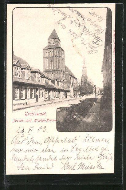 AK Greifswald, Jacobi- & Nicolai-Kirche 1903   Sammeln & Seltenes, Ansichtskarten, Deutschland   eBay!