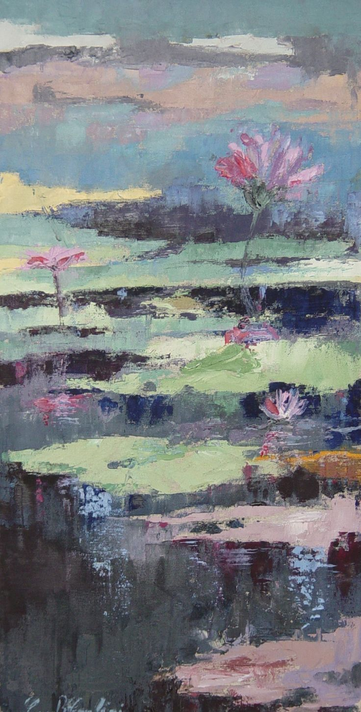 Ninfee4 (water lily4) 30x60 oil on canvas