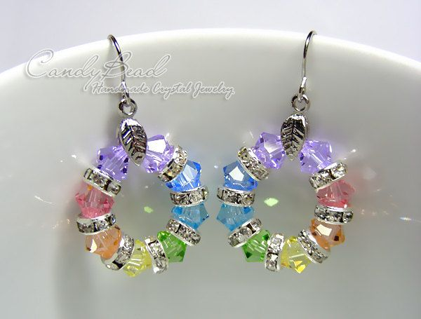 Swarovski Crystal Rondelle Earrings, Sweet Rainbow Swarovski Crystal Earrings (E018-02). 16.50, via Etsy.