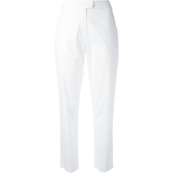 Cacharel Cropped Trousers ($149) ❤ liked on Polyvore featuring pants, capris, cropped pants, cropped trousers, white crop pants, cacharel and white pants