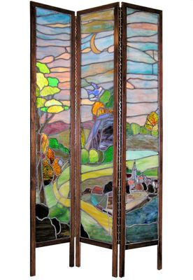 Antique Arts Crafts Stained Glass Screen Room Divider | eBay