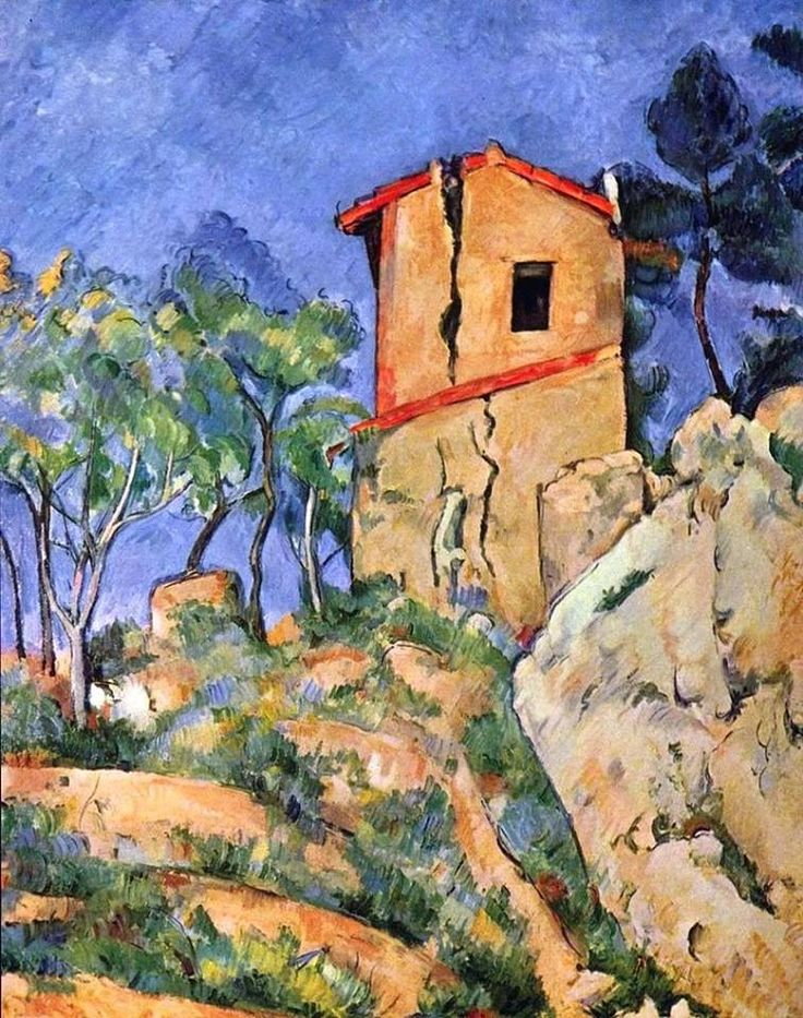 """Paul Cezanne """"The House with Cracked Walls"""", 1892  Come scriveva Federico Zeri, la pennellata di Cezanne è faticosa, frutto di un durissimo lavoro intellettuale di decostruzione del paesaggio. Qui la descrizione ben calza con la parete di roccia, impervia, sulla quale è stata edificata la casa diroccata."""