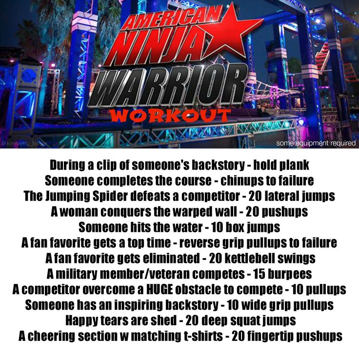 American Ninja Warrior tv show workout (some equipment required)- I think j may watch this show too much; wait, that means I'll be at my fitness goal in no time :-)