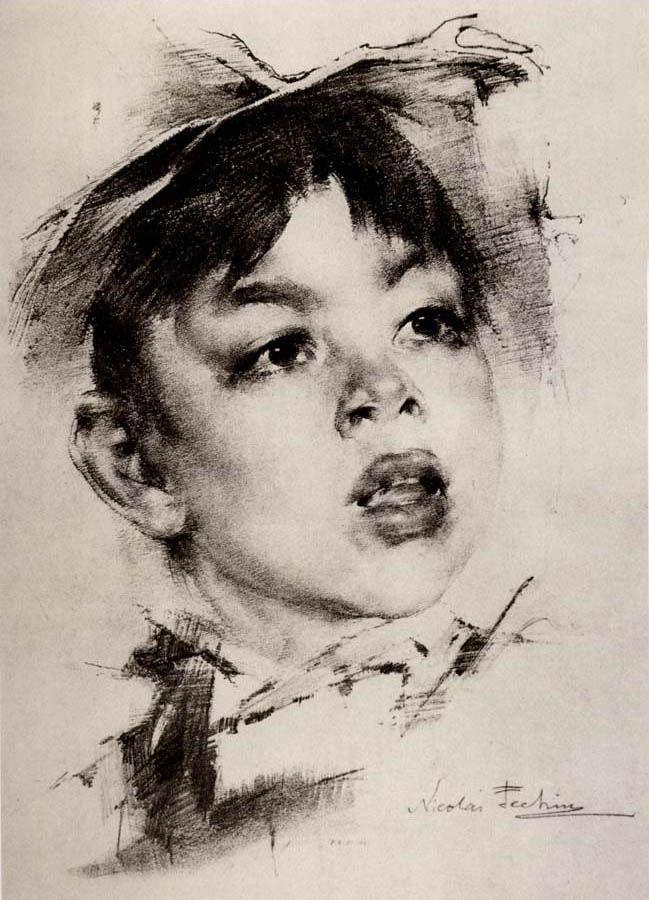 Nikolai Fechin, 1881-1955 | 'portrait of boy'