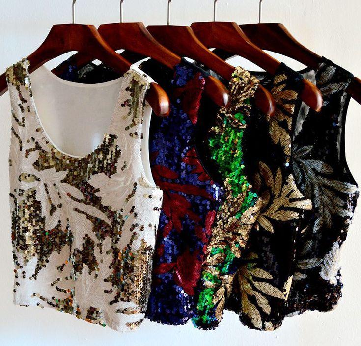 2015 New Arrival moda feminina vestuário folhas de contraste de cor lantejoula alças mangas Top curto Sexy boate desgaste em Regatas de Roupas e Acessórios Femininos no AliExpress.com | Alibaba Group