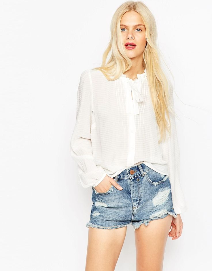Image 1 of ASOS Premium Skinny Tie Pussy Bow Blouse
