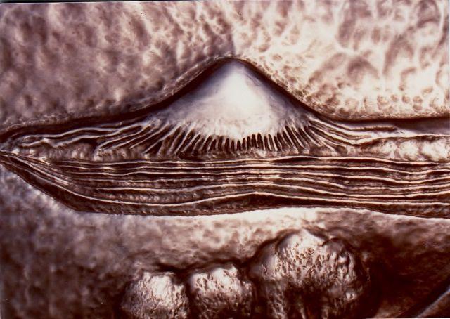 """Obra: """"Volcán Parinacota"""" Arica- Chile. Técnica: Repujado y cincelado en acero."""