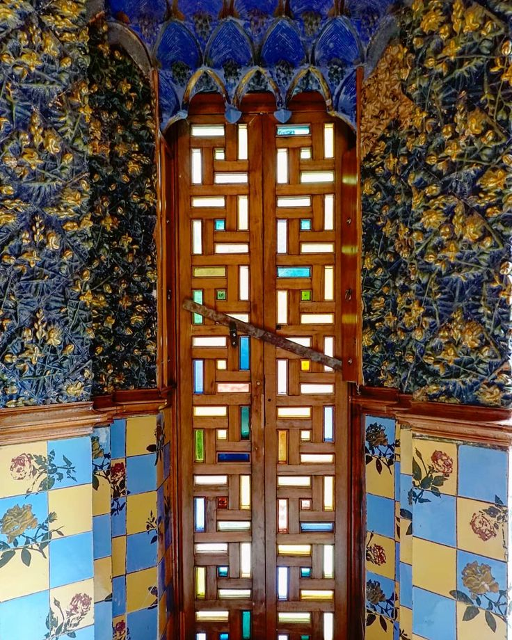 A lovely door and wall decoration of Casa Vicens,  Barcelona, Catalonia, Spain …