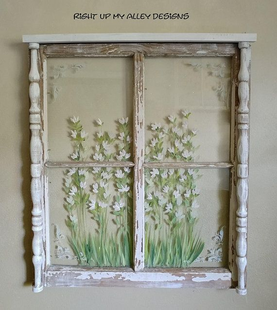 A Simple Floral Design Was Painted On This 4 Pane Window Along With A Delicate Touch Of A Faux Etched Glas Shabby Cottage Decor Shabby Chic Diy Chic Home Decor