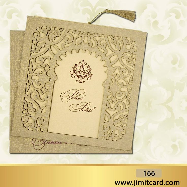 wedding invitation card format marathi wording%0A A Golden Floral motifs  WeddingCard with  LaserCut Designing is in the form  of single pull out insert in cardboard  u     there is space to write the  wordings