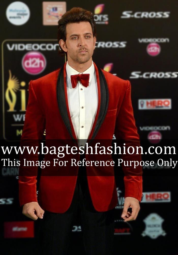 Wedding One Button Red Velvet Tuxedo Suit