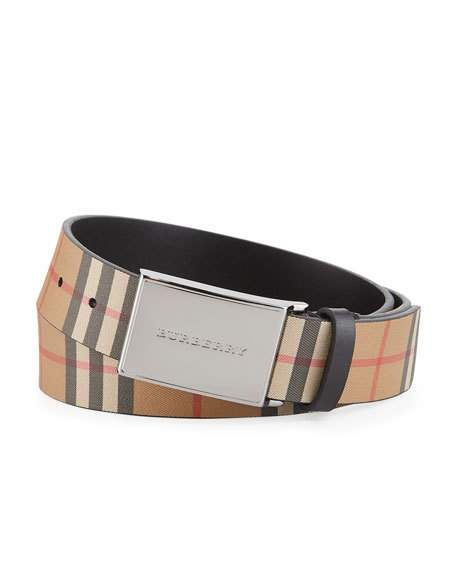 0304a15716dce Men s Charles Check Suede Belt by Burberry at Neiman Marcus