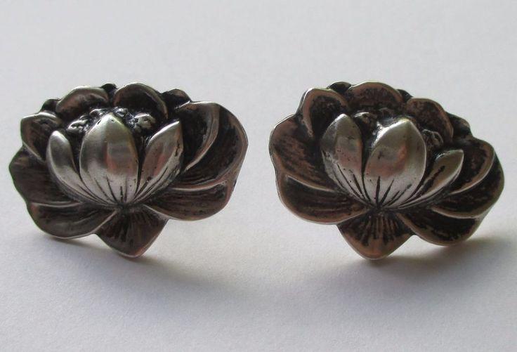 VTG STERLING SILVER WATER LILY WATERLILY FLOWER EARRINGS ART NOUVEAU DECO | Jewelry & Watches, Vintage & Antique Jewelry, Fine | eBay!