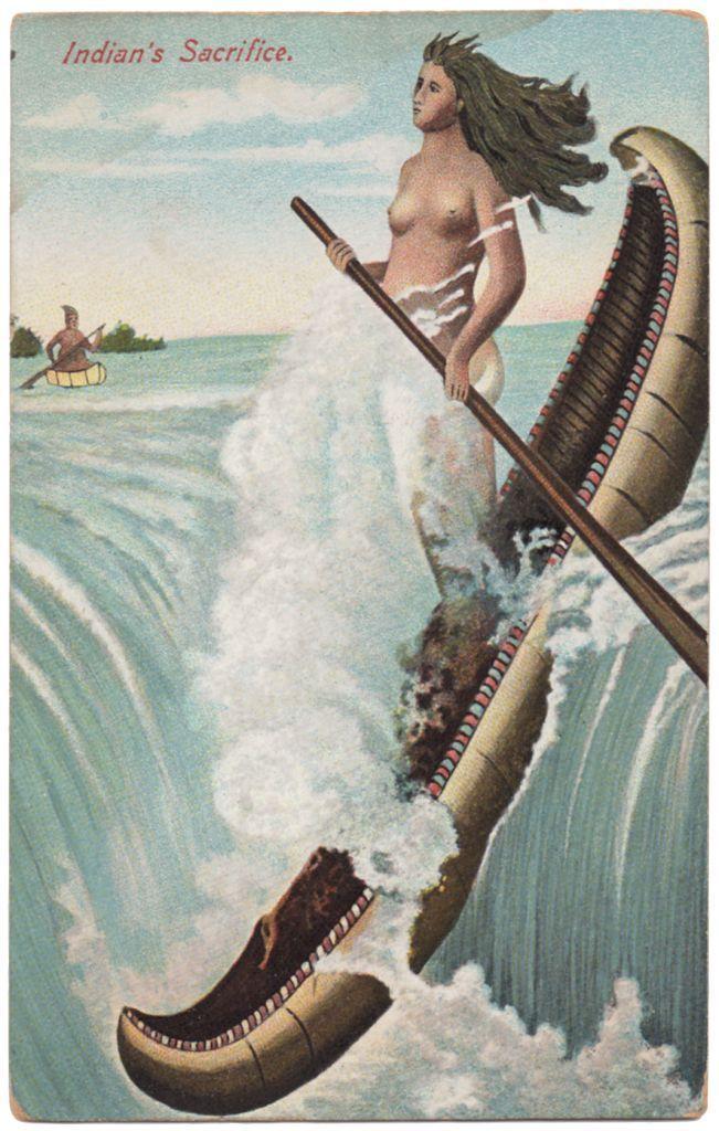 Native American Canoe Paddling Man