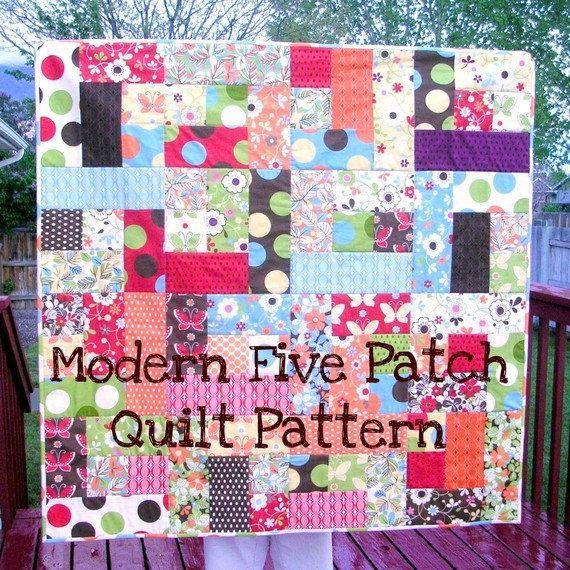 The Original Modern Five Patch Quilt Pattern -- PDF. $8.00, via Etsy.