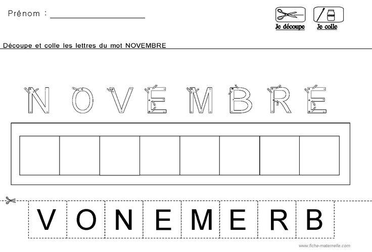 Lecture decouper et coller les lettres du mois novembre - Lettre a decouper ...