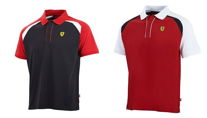 Buy: Ferrari F1 Polo Shirt - 2 Colours, 4 Sizes for just: £19.99 Go, go, go. Show your support with a Ferrari F1 Polo Shirt      Available in black or red, with contrasting sleeves      Black option is available in sizes S, M, XL or XXL      Red option is available in sizes S or XL      Scudetto shield printed on the front of the shirt      Scuderia Ferrari logo on the back, at the base of...
