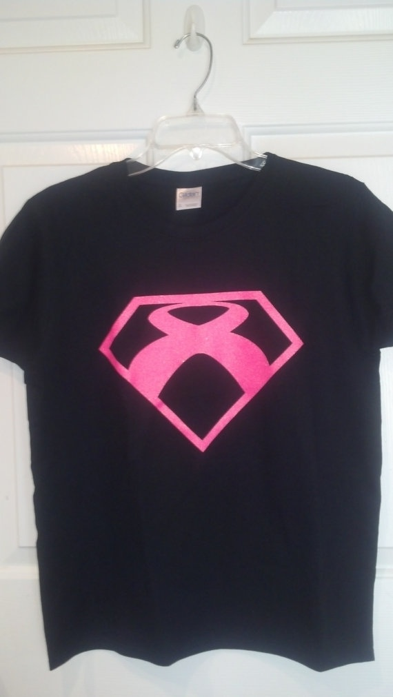 Breast Cancer Fighting Glitter Super Hero T-Shirt (Small) - Back Reads: Supporting the Fighters; Admiring the Survivors; Honoring the Taken