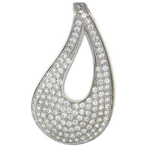 Sterling Silver Micro Pave Open Tear Drop Shape Pendant White Stones Sabrina Silver. $53.35