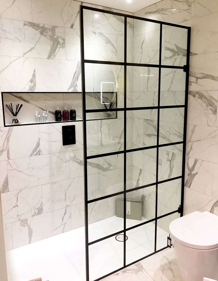 Liberty 10mm Black Grid Pattern Wetroom Panel Trends2019