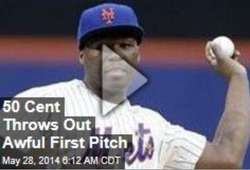 Latest News:  50 Cent Throws Out Awful First Pitch.  50 Cent probably shouldn't quit his day job. The rapper threw out the first pitch for the New York Mets at Citi Field last night, and, well, it went really wide—and almost hit some cameramen. Get all the latest news on your favorite celebs at www.CelebrityDazzle.com!