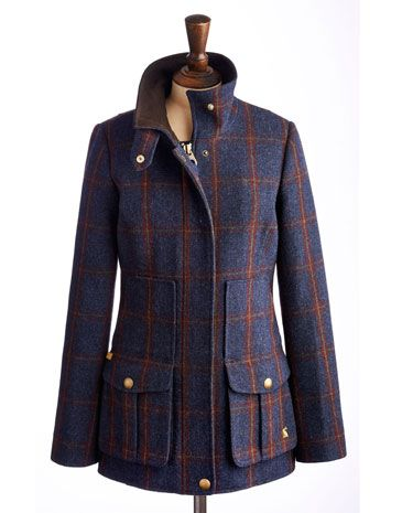 Joules null Womens Tweed Fieldcoat, Navy.                     Set this tweed new women's country sports coat firmly in your sights and capture true country style. Completely timeless and made to last season, after season, after season. In rugged tweed and complete with the functional features and delightful details you've come to know and love. A true Joules classic.