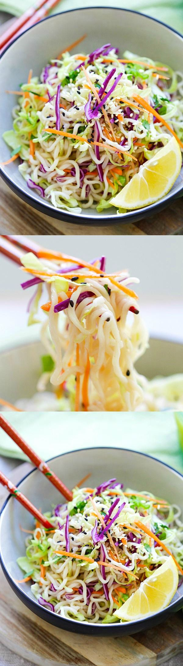 Ramen Noodle Salad – Asian salad made with ramen noodles, cabbage and carrots in a tangy and appetizing dressing. So healthy and delicious   rasamalaysia.com