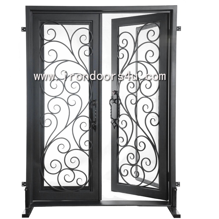 """wrought iron entrance door----DSD-001    [Width×Height("""")]72x96      [Finish]Solid black(as photo)     [Glass]clear tempered"""