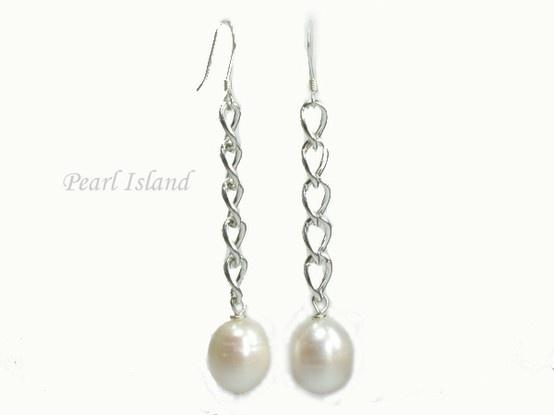 Countessa Large White Oval Pearl Long Earrings: www.pearlisland.co.uk
