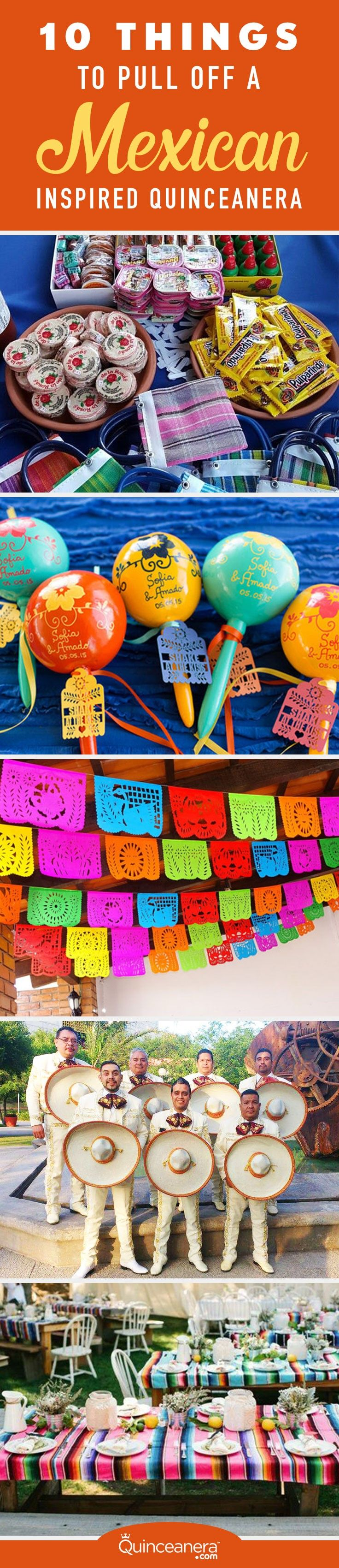 Planning aSeptember Quinceanera?Pay tribute to your Hispanic Heritage by painting your Quinceanera in cheerful Mexican colors and patriotic decorations.