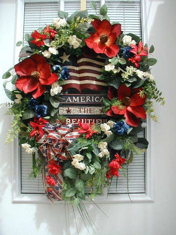 Patriotic Labor Day or July 4th wreath by Petals-N-Picks