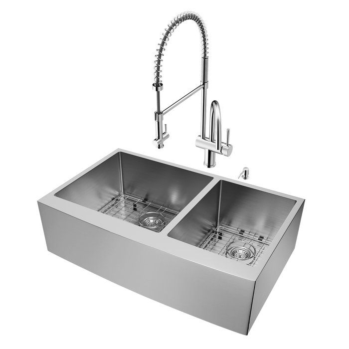 36 Inch Farmhouse Apron 60 40 Double Bowl 16 Gauge Stainless Steel K Apron Front Kitchen Sink Stainless Steel Double Bowl Kitchen Sink Double Bowl Kitchen Sink