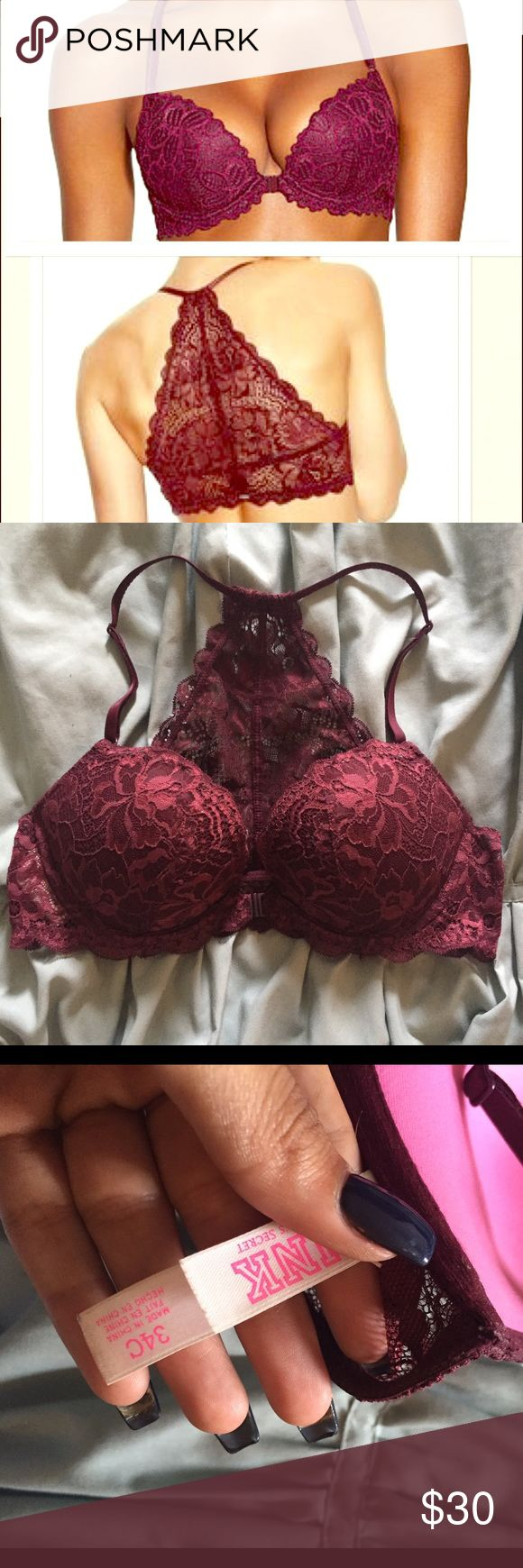 VS pink racerback date push up bra Beautiful with front clasp. Racerback sexy lace , some pushup super sexy burgundy color in excellent condition. PINK Victoria's Secret Intimates & Sleepwear Bras