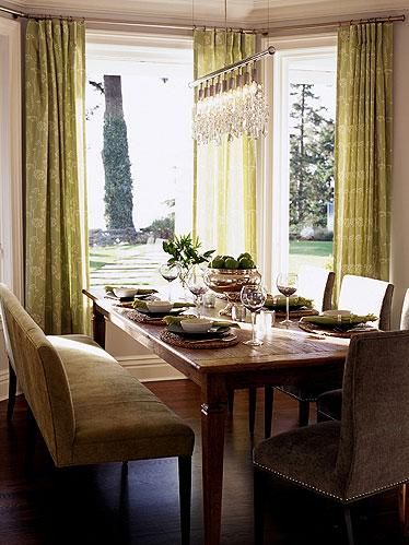 Sarah Richardson Design - Brown & green dining room design with farmhouse dining table, ...