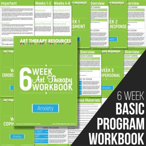 The Art Therapy Anxiety Basic Program Workbook outlines a program delivered over 6 weeks. In each week you are provided with a suggested list of art therapy exercises to use with your client.