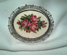 Vintage Silver Scalloped White Pink Red Rose Tapestry Needlepoint Brooch Pin