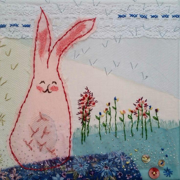 Babykamer Emma - katoen, tule en borduurwerk 20x20 cm #textile #recycled textile#embroidery stitch #textile art