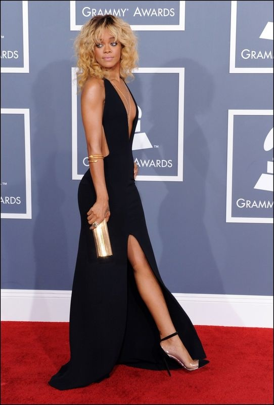 Rihanna, black dress, gold