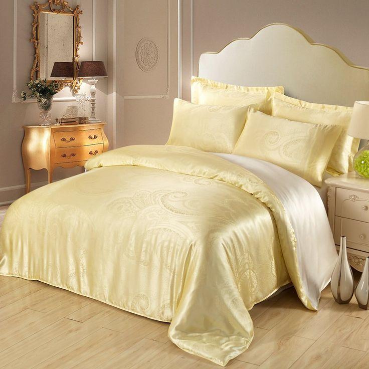 Light Yellow Silk Bedding Sheets Set Jacquard 3pcs 19