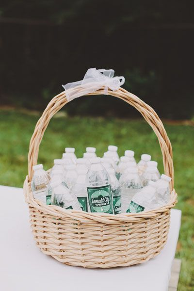 Hydration Station  With the sun bearing down on your guests and the alcohol flowing, everyone needs to be on guard against dehydration. Consider personalized bottles of water, which are easier to tote around than glasses.