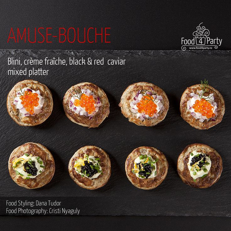 Blini mixed platter creme fraiche red and black caviar