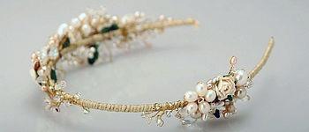 headband, gold, pearl, blue by brilliant designer Gillian Million